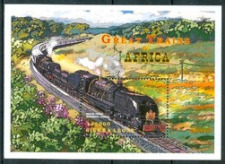 1999 Sierra Leone Royal Train-Rhodesia Treni Trains Railways Block MNH** Sie110 - Sierra Leona (1961-...)