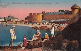 35 -  St-Malo - Carte Colorisée - Le Château - La Grande Plage - Saint Malo