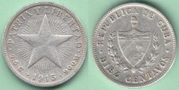 1915-MN-122 CUBA. KM A12 SILVER 10c STAR 1915 ESTRELLA RADIANTE . - Cuba