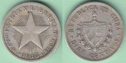 1915-MN-127 CUBA. KM A12 SILVER 10c STAR 1915. ESTRELLA RADIANTE. - Cuba