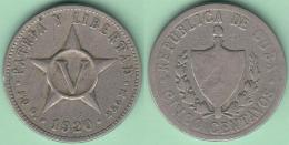 1920-MN-117 CUBA. KM 11.1 COPPER- NICKEL 5c STAR 1920. ESTRELLA RADIANTE. - Cuba