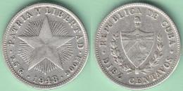 1948-MN-108 CUBA. KM A12. SILVER 10c STAR 1948. ESTRELLA RADIANTE - Cuba