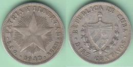 1948-MN-109 CUBA. KM A12. SILVER 10c STAR 1948. ESTRELLA RADIANTE - Cuba