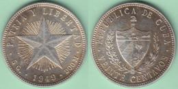 1949-MN-106 CUBA. KM 13.2. SILVER 20c STAR 1949. ESTRELLA RADIANTE. BELLA PATINA ORIGINAL. - Cuba