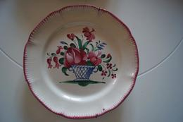 3 Assiettes Faïence Lunéville K&G Fleurs 19e - Plates
