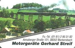 RAIL RAILROAD RAILWAY TRAIN STEAM LOCOMOTIVE BRIDGE MARKERSBACH MOTORGERATE GERHARD STREIF CALENDAR * MGS 1998 * Germany - Calendari