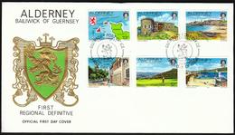 Alderney 1983 / Map, Fort Clonque, Corblets Bay, Old TowerGolf, Essex Castle, Old Harbour - Alderney