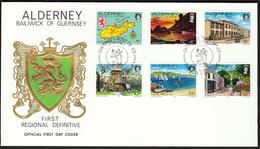Alderney 1983 / Map, Hanging Rock, States Building, St. Anne's Church, Yachts In Braye Bay, Victoria Street - Alderney