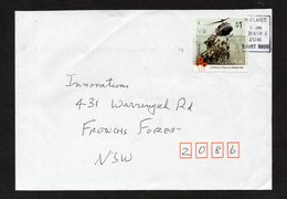 No.G080 ADELAIDE, SA 5000 SQUARE POSTMARK 28 NOV 2016 With VIETNAM HELICOPTER $1 Stamp Affixed On Complete Cover - Hélicoptères