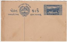 Saurashtra Postcard, Postal Stationery Unused, Lion, Ship, Fort, British India State, Post Card, 3p Three Pies, As Scan - Soruth