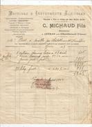 Facture 1923 , Machines & Instruments Agricoles , MICHAUD Fils , ANTRAN Prés CHATELLERAULT  , Vienne , Timbrée - France