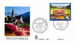 ITALIA - FDC CAPITOLIUM - ANNO 2016 - BOLZANO CENTRO - BOZEN - SPEK ALTO ADIGE IGP - ALIMENTAZIONE - GASTRONOMIA - 6. 1946-.. Repubblica