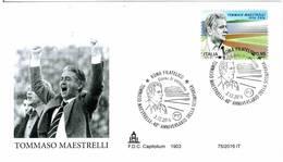 ITALIA - FDC CAPITOLIUM - ANNO 2016 - ROMA - TOMMAS MAESTRELLI - 40° ANNIVERSARIO DELLA SCOMPARSA - ATLETICA - SPORT - 6. 1946-.. Repubblica