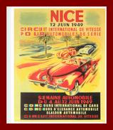 Théme Pub * Circuit International De Vitesse Pour Automoblies à Nice En 1949   ( Scan Recto Et Verso ) édition Clouet - Pubblicitari