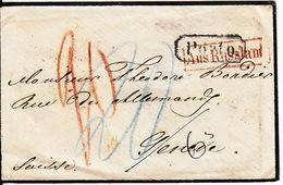 Lettre De 1863 , Marque : Porto Aus Russland à Destination De Genève / Mr Théodore Bordier - Svizzera