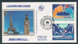 1994 Env 1er Jour Tunnel Sous La Manche - Calais - FDC