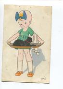 JOLIE CPA Illustrateur ORIS  Signé ANNEES 20 Petite Fille Plateau Chat Noir - 1900-1949