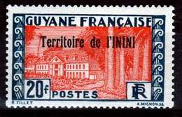 Inini (French Guiana), Cayenne, 20f., 1932, MH F  Colonial Gum, Otherwise VF - Inini (1932-1947)
