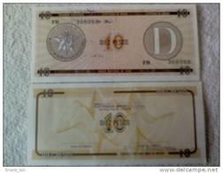 Billete Cuba. 10 Pesos. Serie D. Certificado De Divisa.  Banco Nacional De Cuba. - Cuba