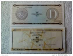 Billete Cuba. 5 Pesos. Serie D. Certificado De Divisa.  Banco Nacional De Cuba. - Cuba