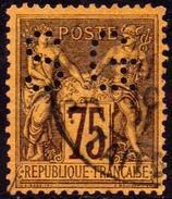 SAGE N° 99a 75c. VIOLET GRIS SUR JAUNE  N Sous U  OBLITERE CAD - 1876-1898 Sage (Type II)