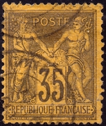 SAGE N° 93 35c. VIOLET NOIR SUR JAUNE  N Sous U  OBLITERE CAD - 1876-1898 Sage (Type II)