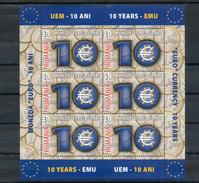 Roumanie. Feuillet. 10 Ans E L'euro