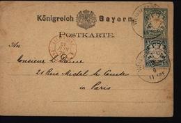 Allemagne Royaume Bavière N°39 Carte Entier Postal Weissenburg Ambulant Entrée Pour Paris - Bayern (Baviera)