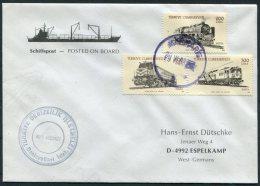 1990 Turkey Ship Trains Cover. M/V AKDBNIZ - 1921-... Republic