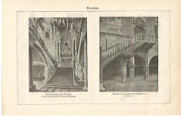 LAMINA ESPASA 16558: Escalera Del Palacio De Bruhl Y Del Palacio Municipal De Venzone - Altre Collezioni