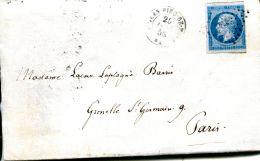 N°130 M -20 C Bleu Napoléon Sur Lettre 1858 -cachet St Jean Pied De Port- - 1853-1860 Napoléon III