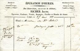 N°138 M -facture épuration D'huiles Manufacture De Chandelles Bougies à L'Aigle- - France