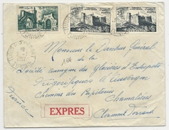 TUNISIE - 1957 - ENVELOPPE EXPRES De TUNIS Pour CLERMONT-FERRAND - Tunesien (1956-...)