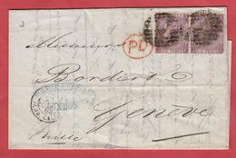 Letter PD For Mr Bordier Falris & Co London, Destination Geneva (Switzerland).  19 Oc. 1865 - 1840-1901 (Victoria)