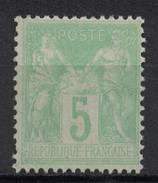 France - Type SAGE N° 102 (N/B) En NEUF (**) GNO (cote En Neuf ** = 40€) / 5c Vert-jaune - 1876-1898 Sage (Type II)