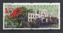 TURKEY 2012 - CENTENARY OF HEARTH ASSOCIATION - HISTORICAL BUILDING - USED OBLITERE GESTEMPELT USADO - 1921-... République