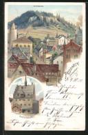 Lithographie Pössneck, Ortsansicht Mit Altenburg, Rathaus - Poessneck