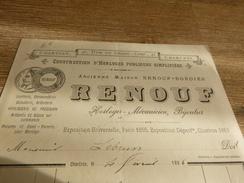 FActure RENOUF Constructeur Horloges Publiques Simplifiées Bijoutier Horloger 1886 CHARTRES - France
