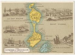 Chromo St Pierre Miquelon Morue Cap Rouge Carte Géo Langlade Terre Neuve - Saint-Pierre-et-Miquelon