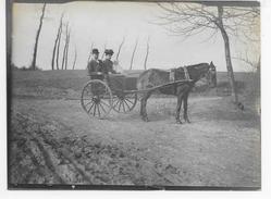 Groot-Bijgaarden Grand-Brigand 15/3/1908 : Paardenkoets Met Mr.&Me. Et Enfant Pelgrims?originele Foto 12x9cm) - Dilbeek