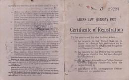 Certificate Of Registration De 1949 - (Aliens Law Jersey 1937) - Vieux Papiers