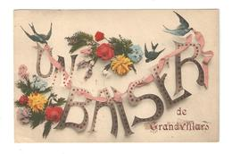 CPA Fantaisie 90 GRANDVILLARS Un Baiser De Grandvillars Bouquets De Fleurs Hirondelles Rubans - Grandvillars