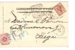 CP Italienne Sestri Levante Bordighera 1901 V.Liège C.d'arrivée + Griffe T&taxée 10 C + Ambt Erquelinnes-Liège 1 PR3798 - Ambulants