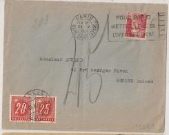 RARE AINSI, TAXE SUISSE 45, PARIS GARE SAINT LAZARE Sur 3f GANDON Pour GENEVE. - Postmark Collection (Covers)