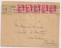 Destination ITALIE, TARIF 15F.5 GANDON 3F, PARIS V RUE DE L'EPEE DE BOIS Pour SESTRIERE. - Postmark Collection (Covers)