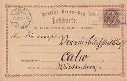 DR Ganzsache R3 Carlsruhe In Baden Bahnhof 19.7.73 Gel. Nach Calw - Deutschland