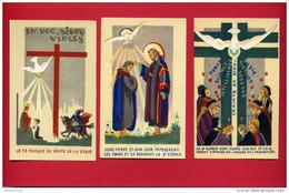 LOT 3 IMAGES PIEUSES SAINT PIERRE SAINT JEAN ESPRIT SAINT DESSIN DE GABRIEL LOIRE VERRIER A CHARTRES VITRAIL - Devotion Images