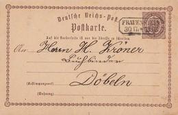 DR Ganzsache Nachverwendeter Sachsenstempel Frauenstein 30.7. Gel. Nach Döbeln - Briefe U. Dokumente