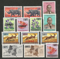 Zaire / Congo Kinshasa / RDC - COB 532/44 Série Complète Surchargée - MNH / ** 1964 COB: 20,00€ Faune - Republic Of Congo (1960-64)