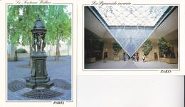 Lot 2 CPSM (75) PARIS. La Fontaine Wallace Et La Pyramide Inversée...D307 - Other Monuments